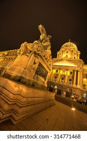 The magnificent Buda Castle in Budapest at dusk.