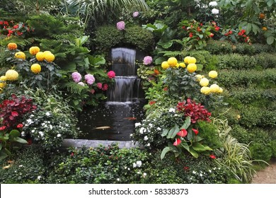 Magnificent cascade fountain in well-known Butchard-garden on island Vancouver