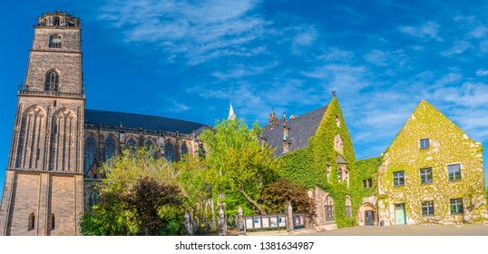 Magnificent Cathedral of Magdeburg at Spring in Magdeburg, Germany, at sunny day and blue sky