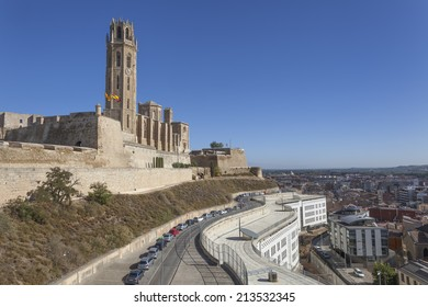 Magnificent cathedral overlooking the town Lleida, Catalonia, Spain