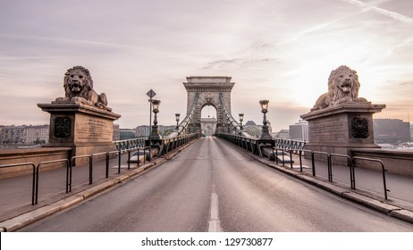 Magnificent Chain Bridge in beautiful Budapest. Szechenyi Lanchid is a suspension bridge that spans the River Danube between Buda and Pest, in the capital of Hungary.