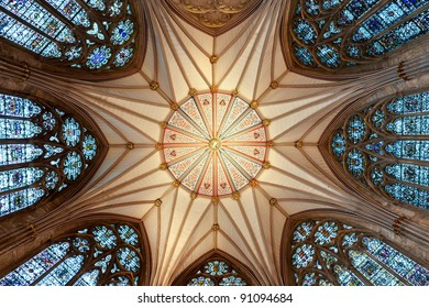 The magnificent Chapter House ceiling (completed 1186 AD) at York Minster