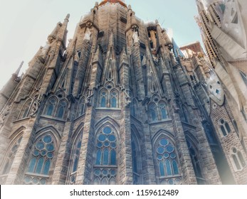 magnificent Christian cathedral, magnificent Christian cathedral of the architect Gaudi, haze, vignetting