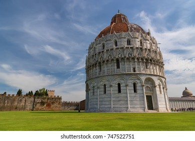 Magnificent daily view at the Pisa Baptistery of St. John, the largest baptistery in Italy, in the Square of Miracles (Piazza dei Miracoli), Pisa, Italy.