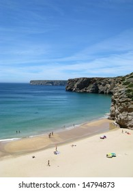 magnificent emerald beach bordered with cliffs in sagres, algarve portugal