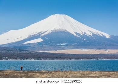Magnificent Fuji mountain view taken from Hirano Lakeshore at Yamanaka Lake