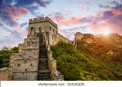 The magnificent Great Wall of China at sunset