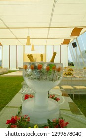 Magnificent ice sculpture drinks holder containing frozen red roses and four chilled bottles of champagne ready to serve.