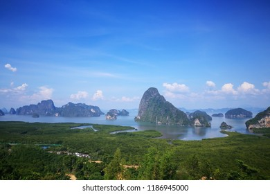Magnificent Landscape of Phang Nga Bay from Samed Nang Chee View Point, Southern Province of Thailand