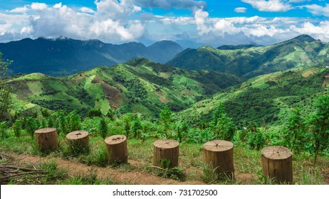 Magnificent landscape  view from  Kalaw Viewpoint,  Located in Myanmar, Shan Region,  there have a lot of magnificent landscape, Mountains, Green fields, Green hills and a perfect place to go trekking