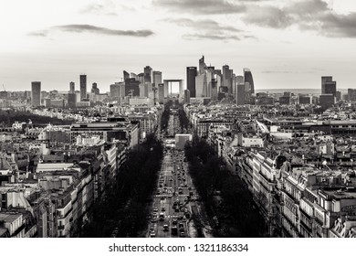 Magnificent look from Arc de Triomphe (Triumphal Arc) towards the La défense before sunset - the parisien trade quarter, in black and white