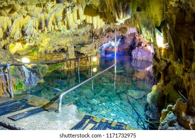 The magnificent and majestic caves of Diros in Greece. A spectacular sight of stalacites and stalagmites.The cave is located underground and one part can be viewed by boat.