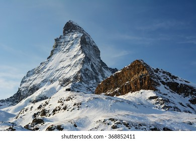 The magnificent Matterhorn on a sunny winter day.
