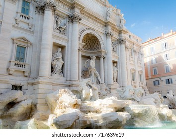 Magnificent monument of architecture in Rome. The Trevi Fountain