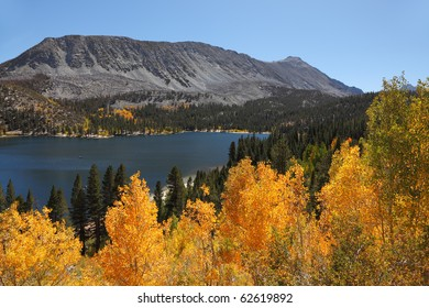 Magnificent mountain lake with bright blue water, surrounded by yellow and orange trees