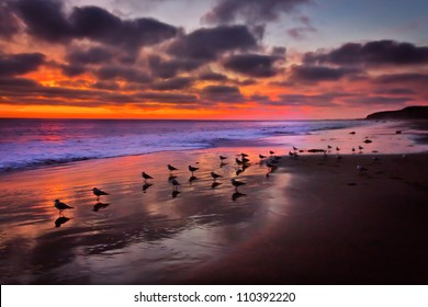 Magnificent Pacific Ocean Sunset at Crystal Cove Beach, California