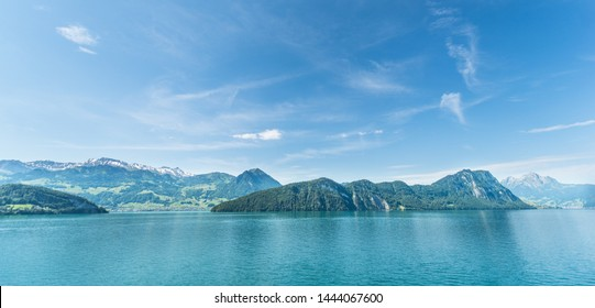 Magnificent panorama. Lake Lucerne and the Alps Mountains in Switzerland. Canton Nidwalden and Lucerne.