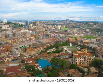 Magnificent, panoramic image of Kampala in Uganda. The center of Kampala, a bird's eye view of Kampala. Uganda-Kampala, Africa. June 12, 2016