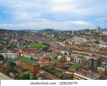 Magnificent, panoramic image of Kampala in Uganda. The center of Kampala, a bird's eye view of Kampala. Uganda-Kampala, Africa. June 11, 2016