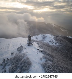 Magnificent panoramic winter view of the Shipka National Monument (Liberty Monument) at sunrise, Balkans, Bulgaria