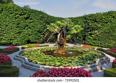 Magnificent park with fountains, statues, flower beds. Lake Como, Villa Carlotta