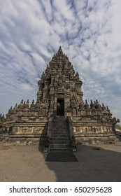 Magnificent Prambanan Temple close view with beautiful cloudy blue sky