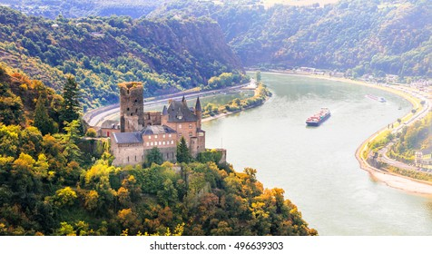 Magnificent Rhine valley with romantic medieval castles. Katz castle in st Goarshhausen . Germany