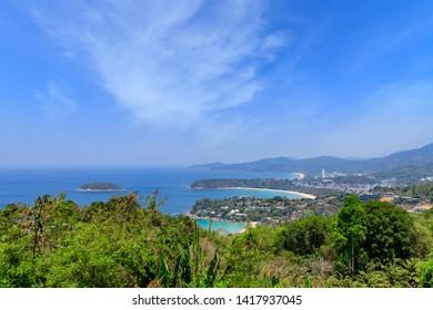 Magnificent scenic view over beautiful Andaman sea and 3 bays at Karon Viewpoint, Phuket, Thailand