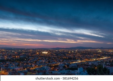 The magnificent skyline of Queretaro city and its mountain area at sunset, Mexico.
