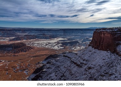 Magnificent snowy view of Dead Horse Point State Park in Utah, USA.