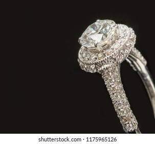 Magnificent Solitaire on a Diamond Ring Isolated on a Black Background