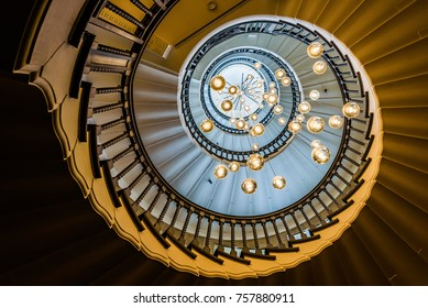 The magnificent spiral staircase inside Heal's department store in Tottenham Court Road. London, United Kingdom. October 2016