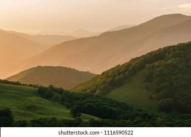 magnificent summer sunset, mountains hills covered beech trees in haze under evening soft light, Carpathian, Ukraine, Europe, wallpaper background landscape