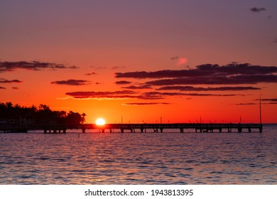 Magnificent Sunrise Over a Pier in Spring in Key West, Florida, USA