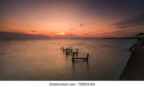 Magnificent Sunset at Abandoned Jetty at Pasir Panjang, Negeri Sembilan, Malaysia.