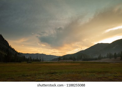 Magnificent Sunset near Madison Campground at Yellowstone National Park in Wymoing