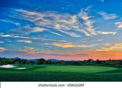 Magnificent sunset on a golf course in Scottsdale, Arizona, a five shot HDR image