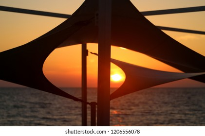 Magnificent sunset on the sea on a sunny warm autumn evening