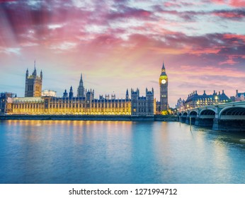 Magnificent sunset view of Houses of Parliament - London.