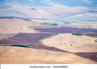 "Magnificent Tuscan rolling hills landscape in the Val d""Orcia Valley. World heritage site in Tuscany Italy on July 2019"