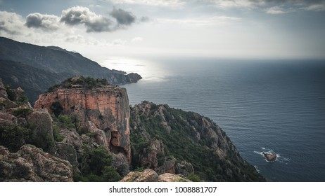 A magnificent view in the Calanche in Corsica.