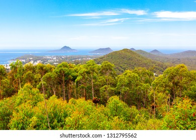 Magnificent view from the Gan Gan lookout. Nelson Bay, New South Wales, Australia.