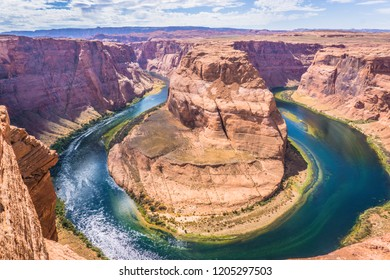 Magnificent view of horseshoe bend on sunny day, Page, Arizona, usa.