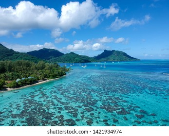 Magnificent view of the Huahine mountains in French Polynesia. With next to a very nice lagoon.