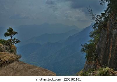 Magnificent View of Kodaikanal valley from Guna Caves, Tamil Nadu.