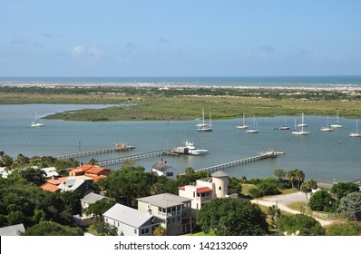 Magnificent view of the marina and beaches from the deck of the 219 step tower at St Augustine Florida