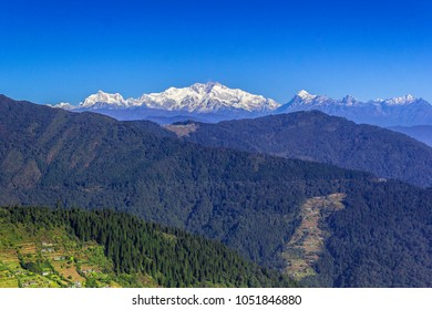 Magnificent view of Mt Kanchenjungha from upper Chitre, on Sandakphu trek route in the Himalayas