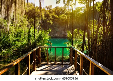 Magnificent view of the mystery cave in the jungle, with sun rays  and wooden bridge in the underground lake. The 3 Eyes National Park (Los Tres Ojos) in Santo Domingo, Caribbean, Dominican Republic