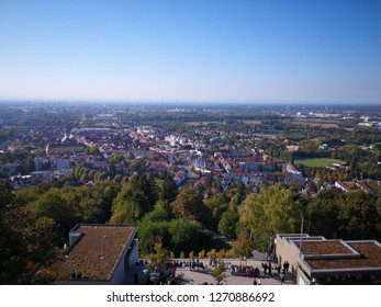 Magnificent view on Karlsruhe from top of Turmberg
