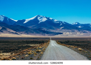 The magnificent view of the Pamir highway and the mountains in Gorno Badakhsan province in Tajikistan. Central Asia.